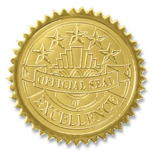 Official Seal of Excellence Embossed Gold Foil Certificate Seals