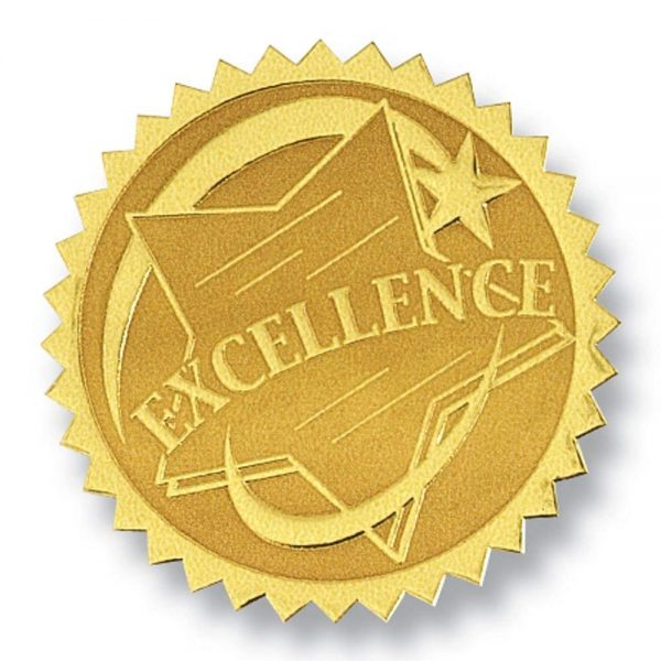 Excellence Rising Star Embossed Gold Foil Certificate Seals