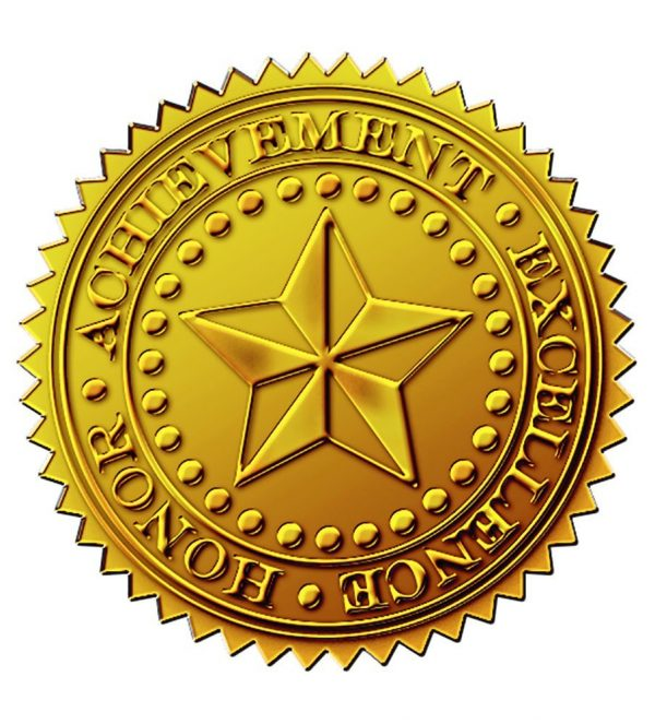 Starburst Embossed Gold Foil Certificate Seal