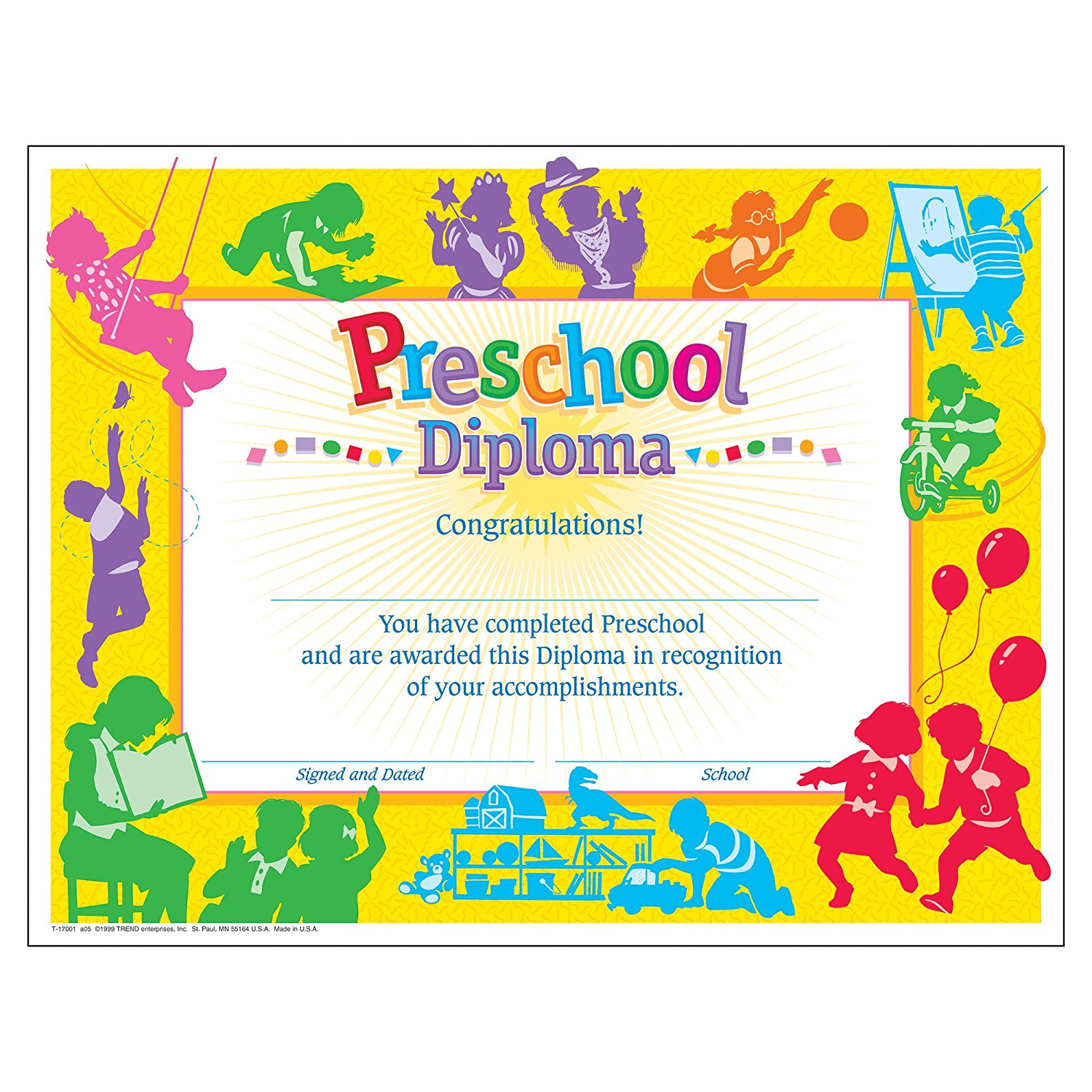 Kindergarten Awards Certificates: Preschool Graduation Diploma