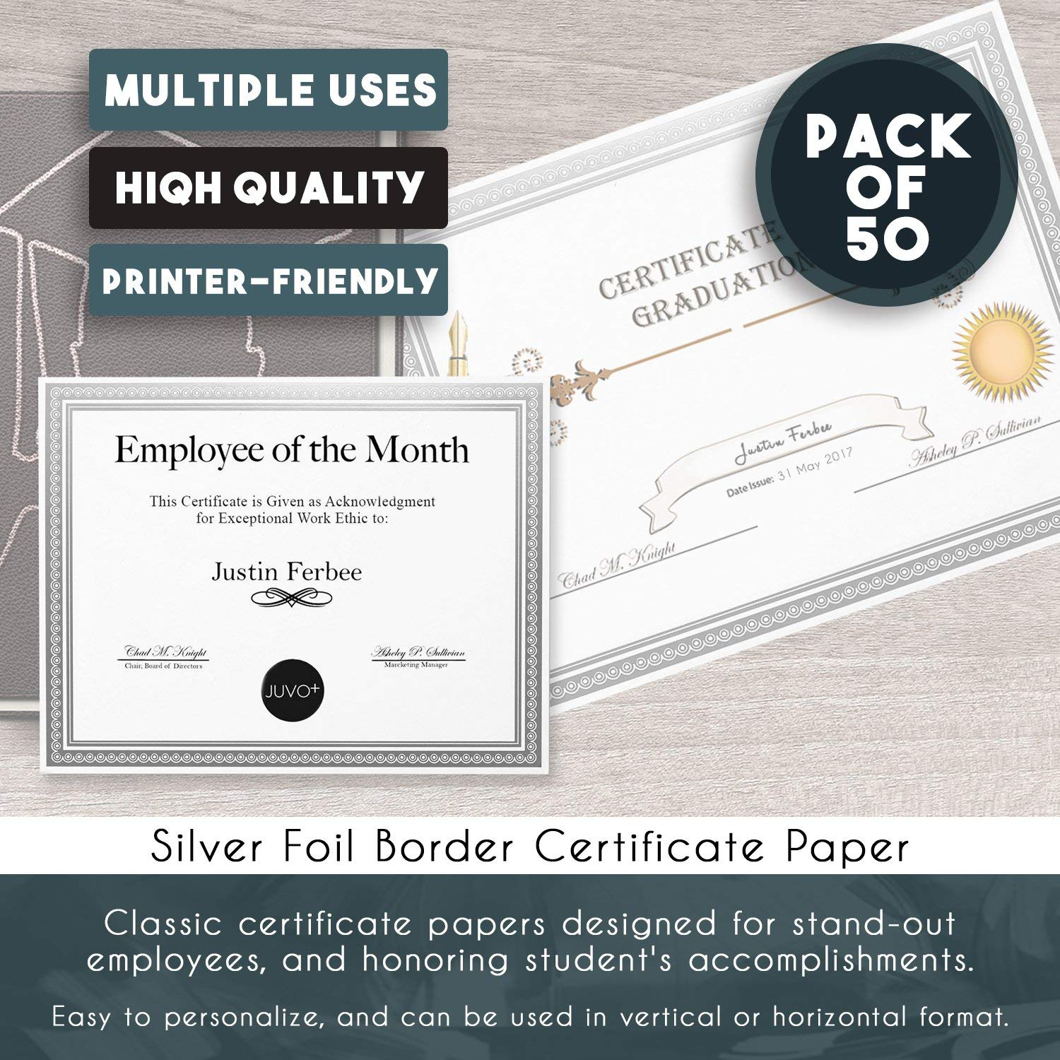 award certificate paper with silver foil metallic border 50 count